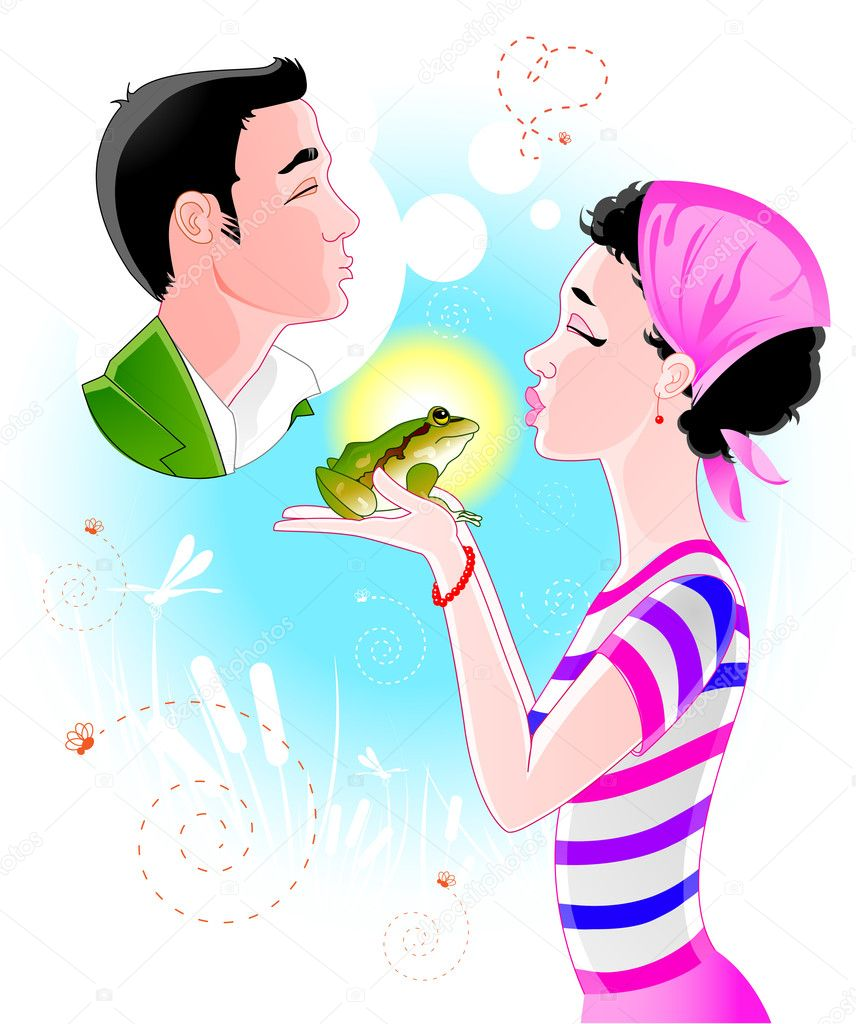 Beautiful girl kissing frog and imagining Prince Charming clipart vector