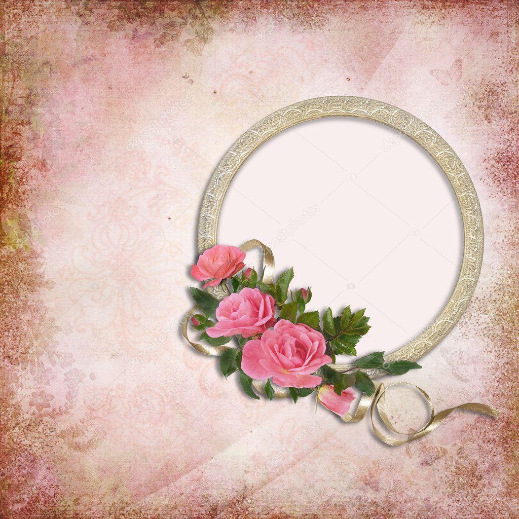Fondo vintage con marco y rosas foto de stock glaz 10404178 - Marcos de fotos vintage ...