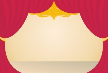 Stage in a theater, a red curtain, beige floor, background clip art vector