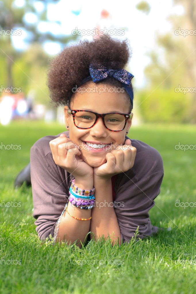 African american black girl child to the park