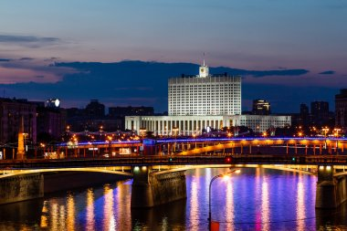 White House and Moscow River Embankment at Night, Russia