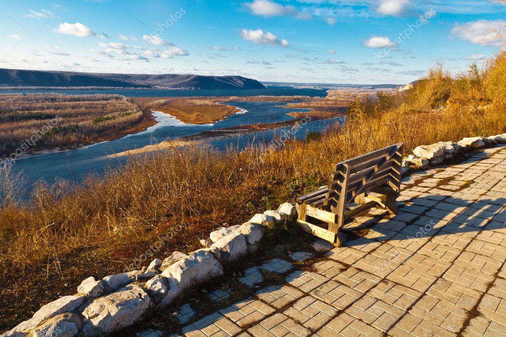 Wooden Bench and Panoramic View of Volga River Bend near Samara