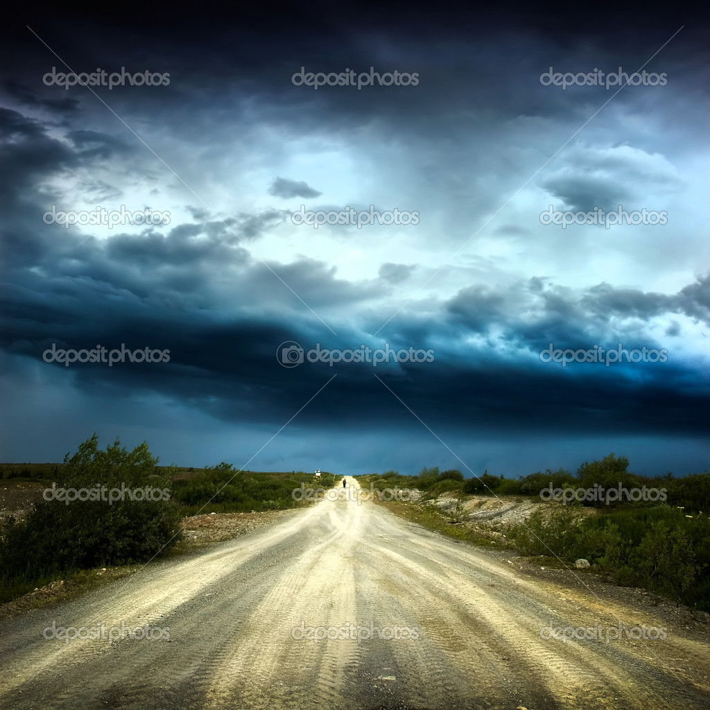 Way over cloudy stormy sky