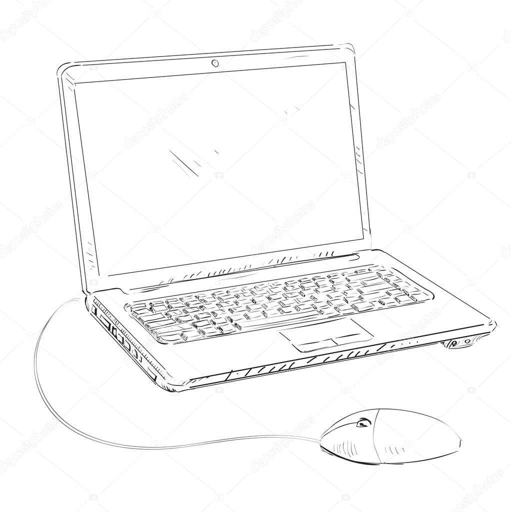 Ordinateur portable avec la souris dessin anim esquisse - Souris ordinateur dessin ...