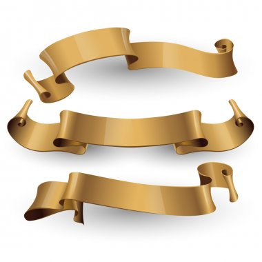 Set of gold vector ribbons