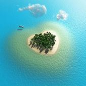 Letecký pohled na tropický ostrov ve tvaru srdce