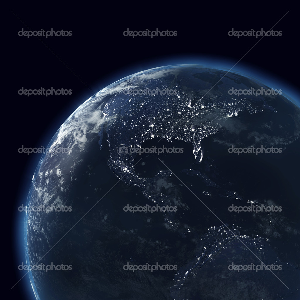Night Globe With City Lights Map Of America Usa Stock Photo - Globe of usa