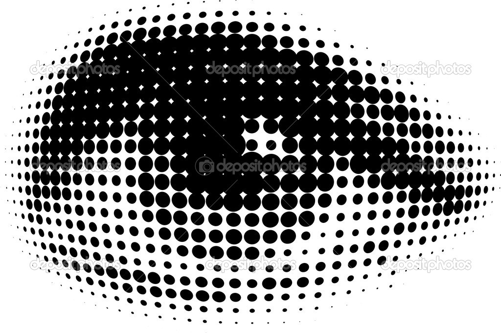 Human eyes in dots