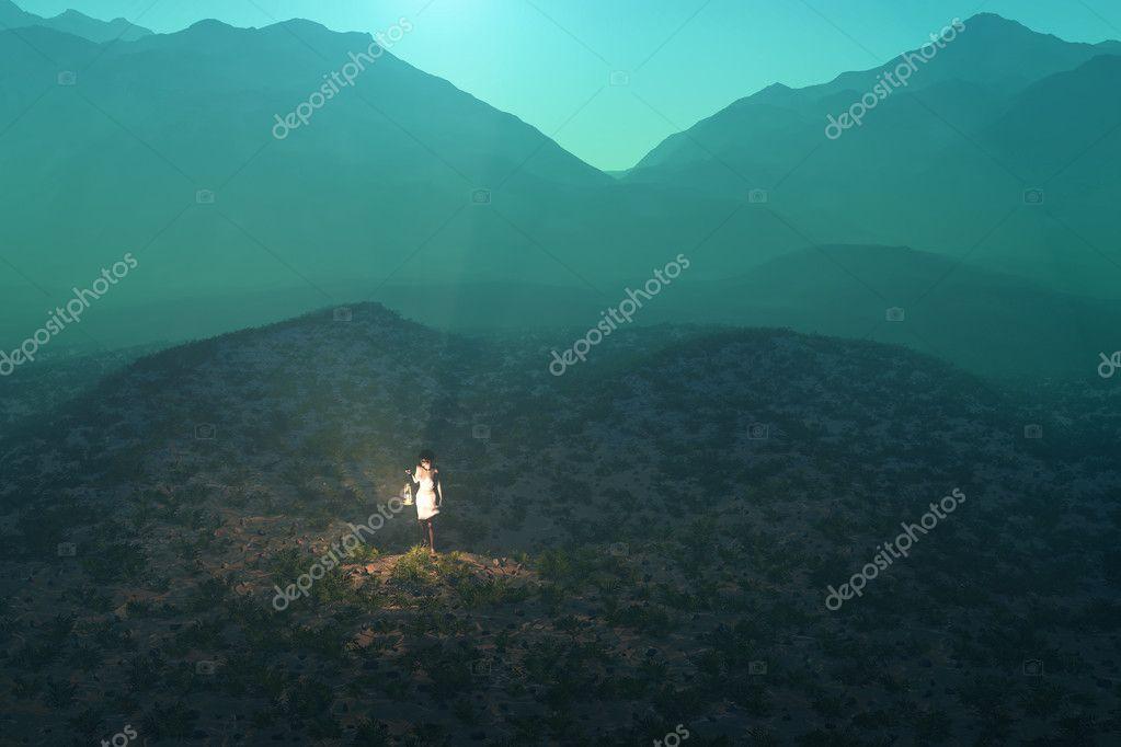 Lost wayfarer in the desert