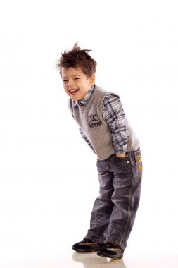 Young European children laughing on white background