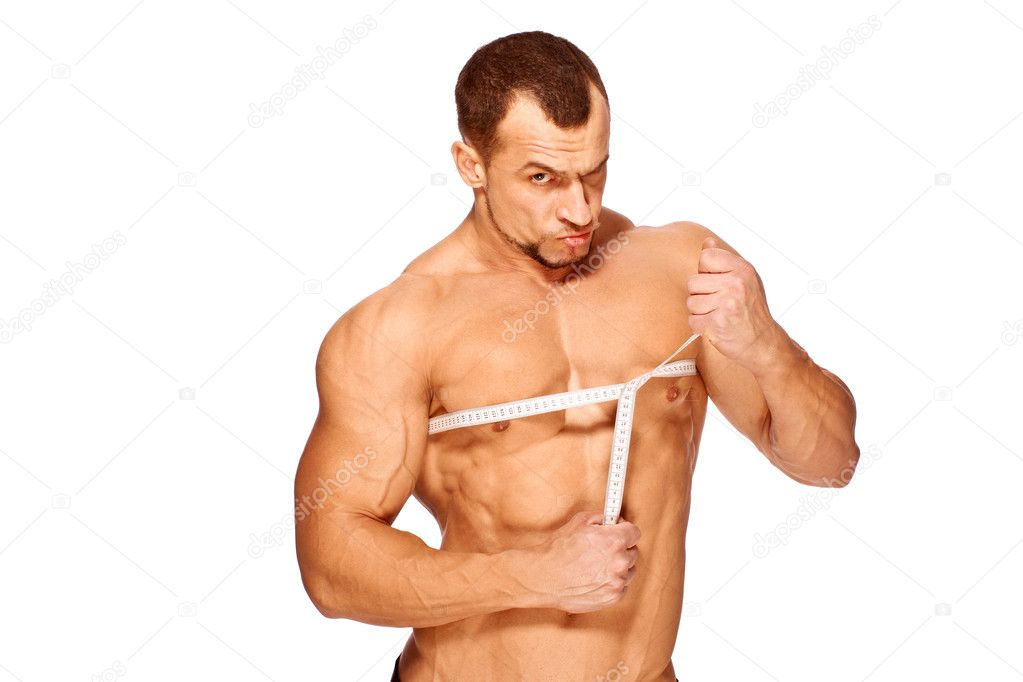 Muscular and tanned male body parts is being measured — Stock Photo ...