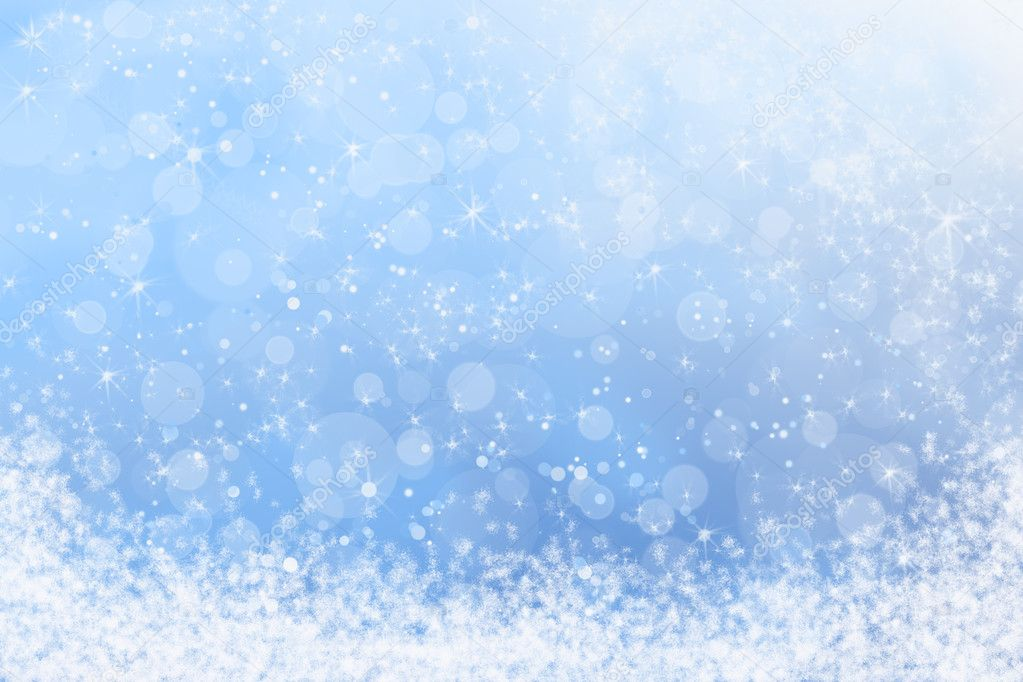 Pretty Winter Blue Sparkly Sky and Snow Background