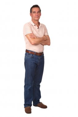 Full Length Portrait of Smiling Man with Arms Folded