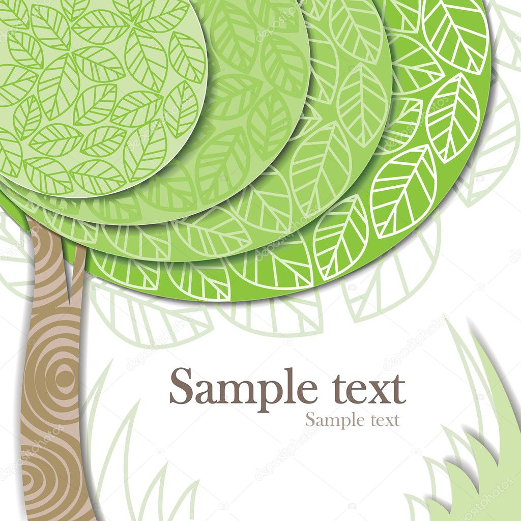 Vector invitation card with green tree