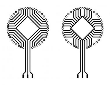Vector logo circuit board tree shapes