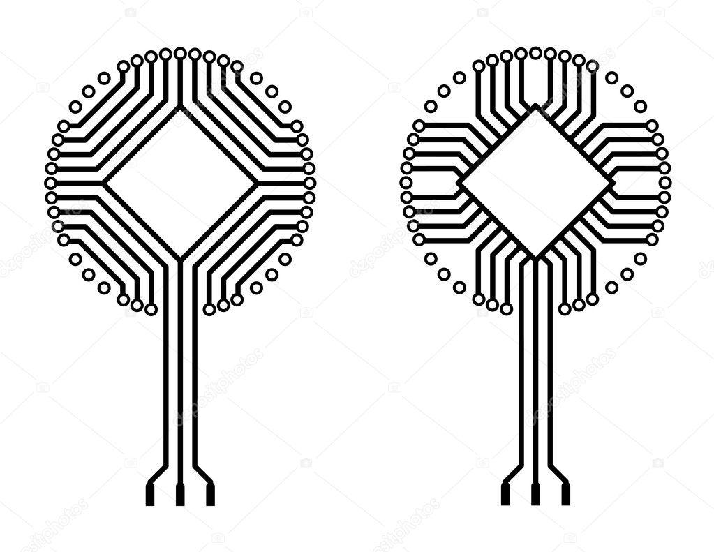 formes vectorielles logo circuit imprim u00e9 arbre  u2014 image
