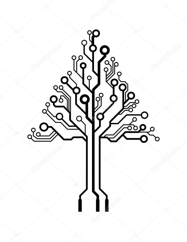 vector logo triangle circuit imprim u00e9 arbre  u2014 image