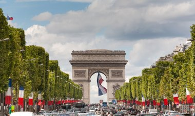 Arc de Triomphe viewed up the Champs Elysees