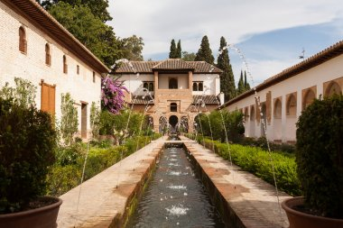 Water feature and gardens of the Generalife inside the Alhambra