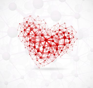 Image of the heart, consisting of molecular structure. Eps 10 clip art vector