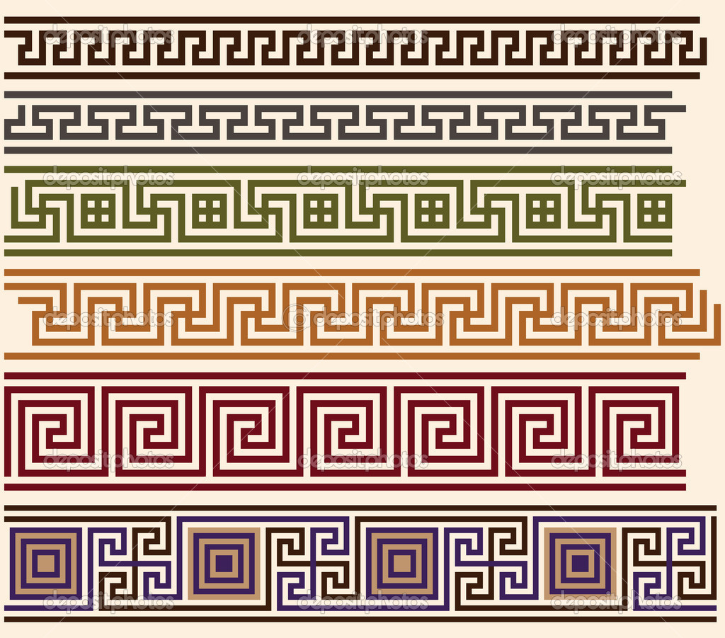 Ancient Greek Pattern Seamless Set Of Antique 8