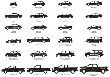 Silhouette of stylized car body types. stock vector
