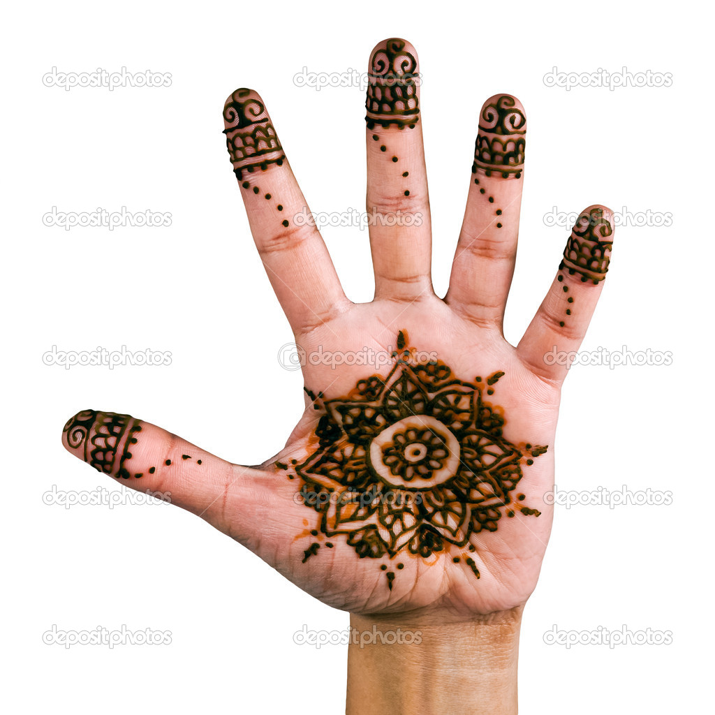 Henna design on the palm of the hand
