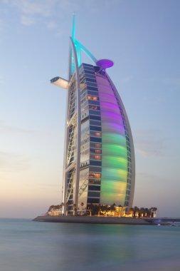 Scenic view of Burj Al Arab colorful illuminated .