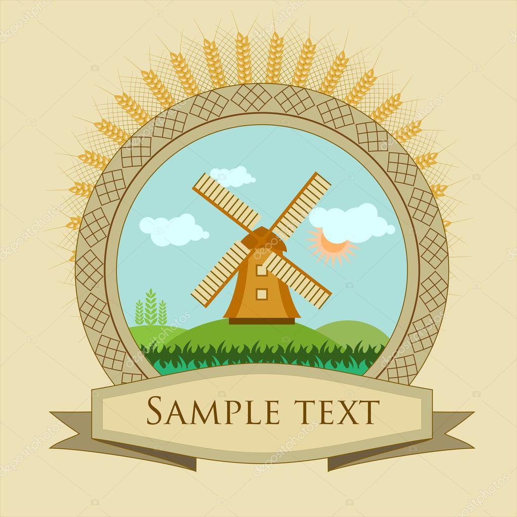 Label windmill and grain
