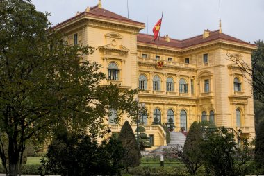 Vietnam Hanoi. Presidential Palace in garden and wi