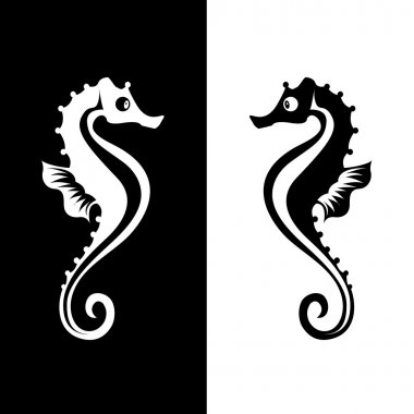 Vector seahorse isolated on white and black background