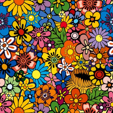 Vivid, colorful, repeating floral background stock vector