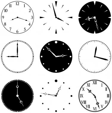 Nine Clock Faces and Hands