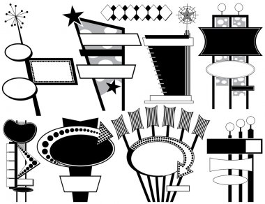 Nine Black and White Retro Advertising Signs stock vector