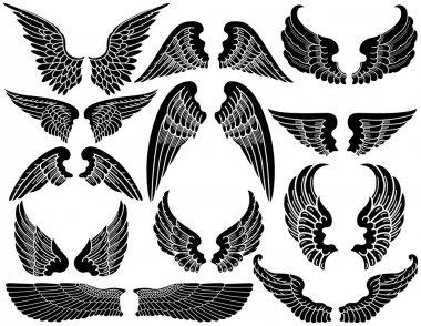 Twelve Sets of Angel Wings stock vector