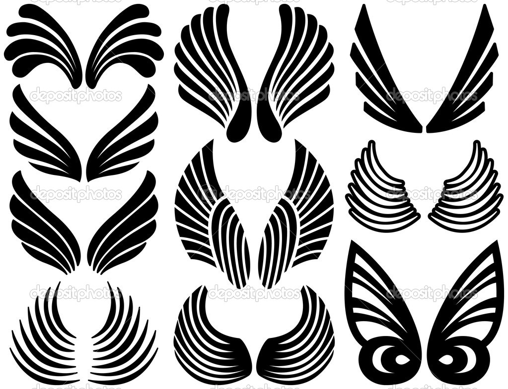 Line Art Resolution : Stylized angel wings — stock vector adroach