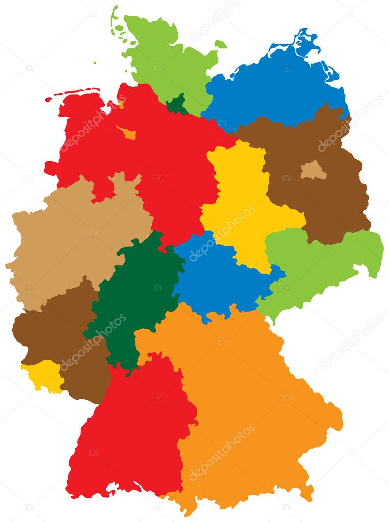 germany divided into 16 states vector by adroach