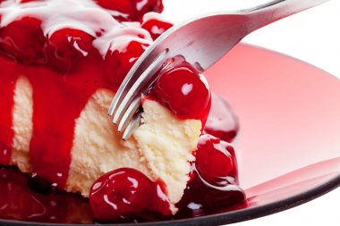 Cherry Cheesecake with Fork