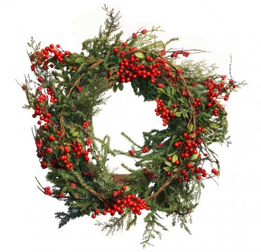 Christmas Evergreen and Holly Berry Wreath Isolated on White