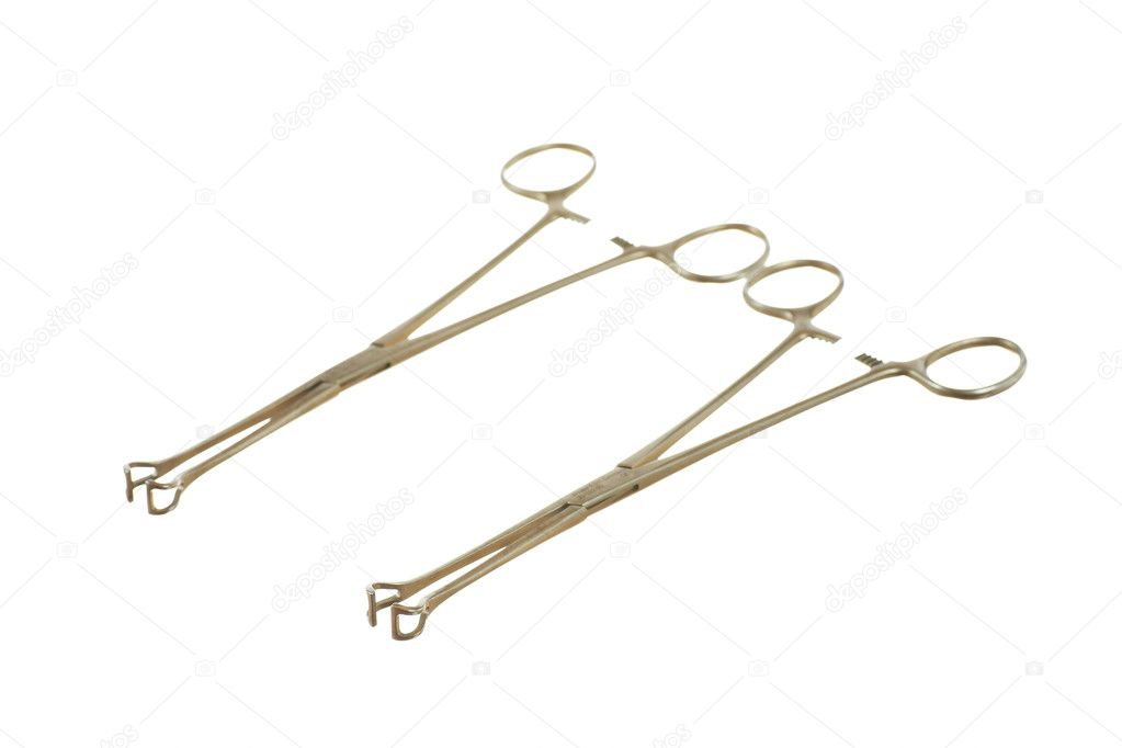 Surgical instruments (babcock tissue forceps) isolated — Stock Photo