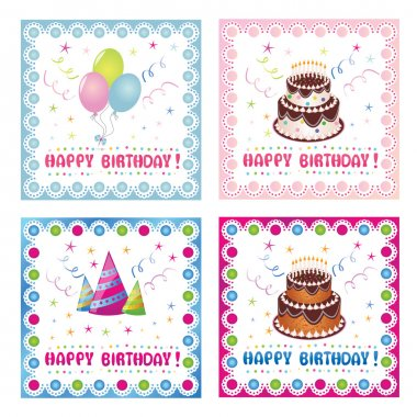 Set of four birthday cards