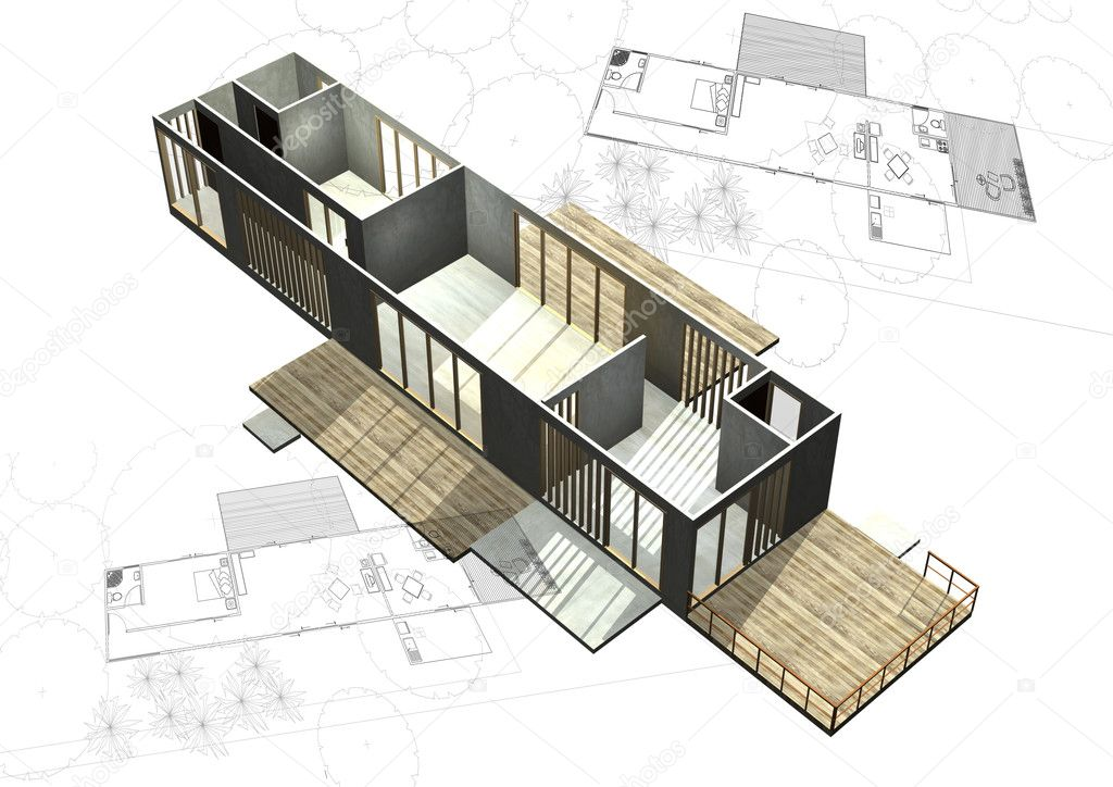Housing architecture plans with 3d building structure for Architectural plans