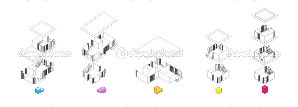 Architecture Exploded Units Diagram Stock Photo