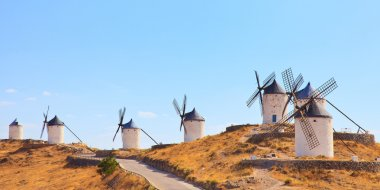 Windmills of Consuegra landmark, panorama. Castile La Mancha, Sp