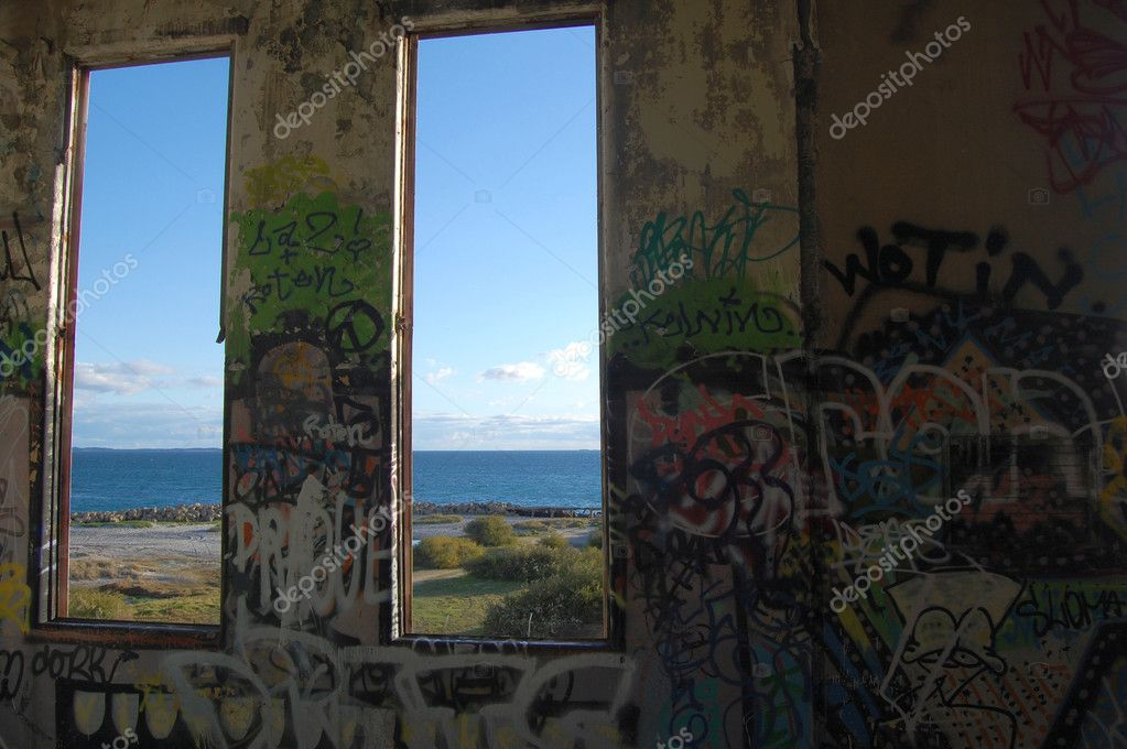 Ocean view from the window of abandoned power station