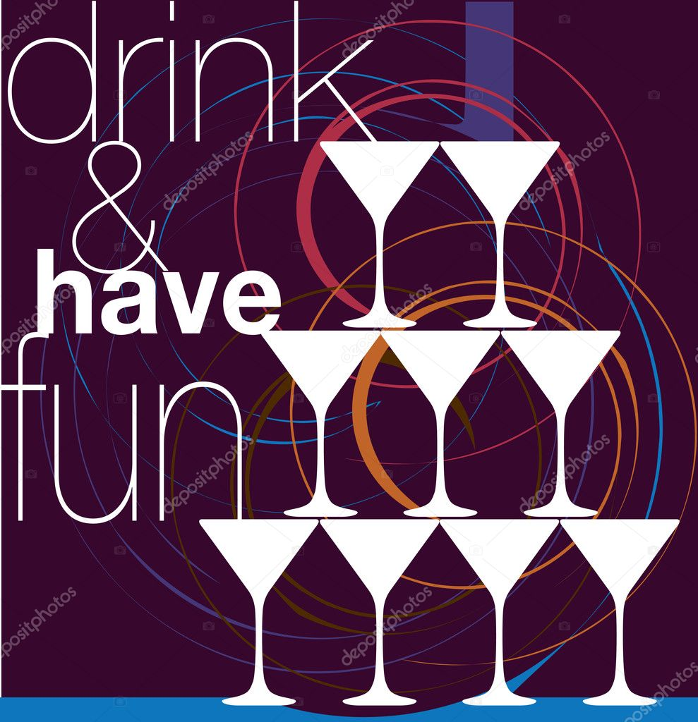 Drink & have fun. Vector Illustration