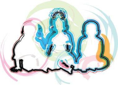 3 babies, vector illustration
