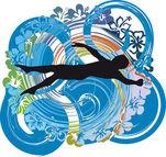 Fotografie Mann schwimmen. Vektor-illustration