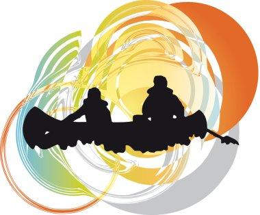 Kayaking in river. Vector illustration