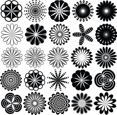 Collection of abstract flowers silhouette